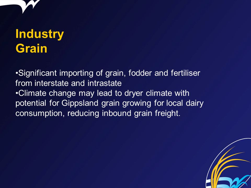 Industry Grain Significant importing of grain, fodder and fertiliser from interstate and intrastate.