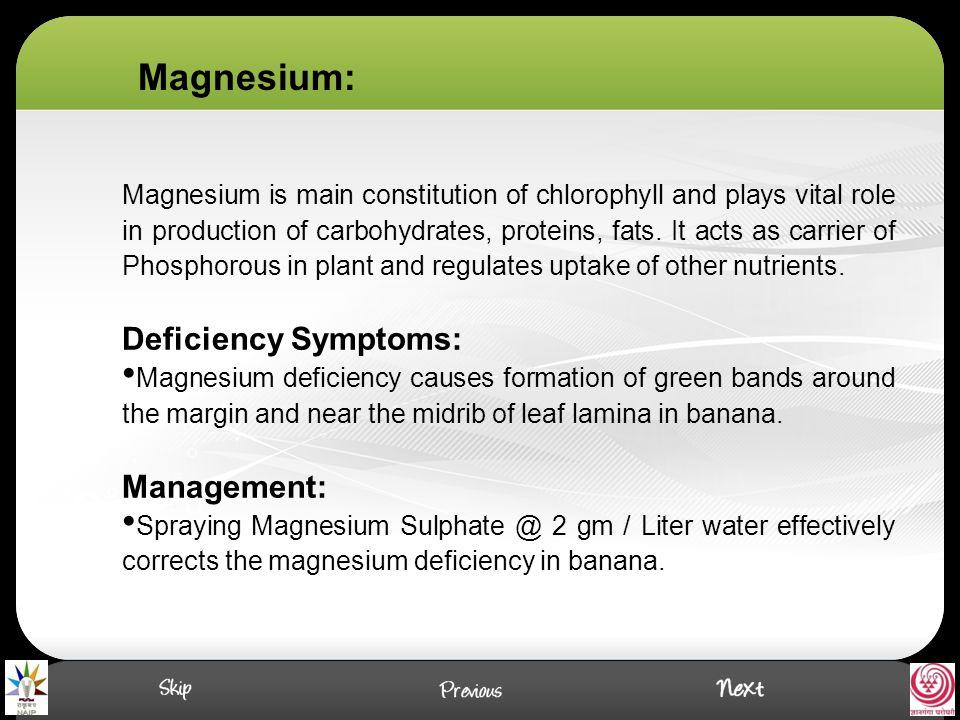 Magnesium: Deficiency Symptoms: Management: