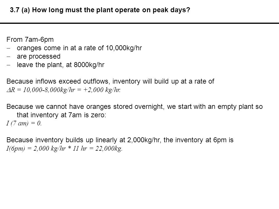 3.7 (a) How long must the plant operate on peak days