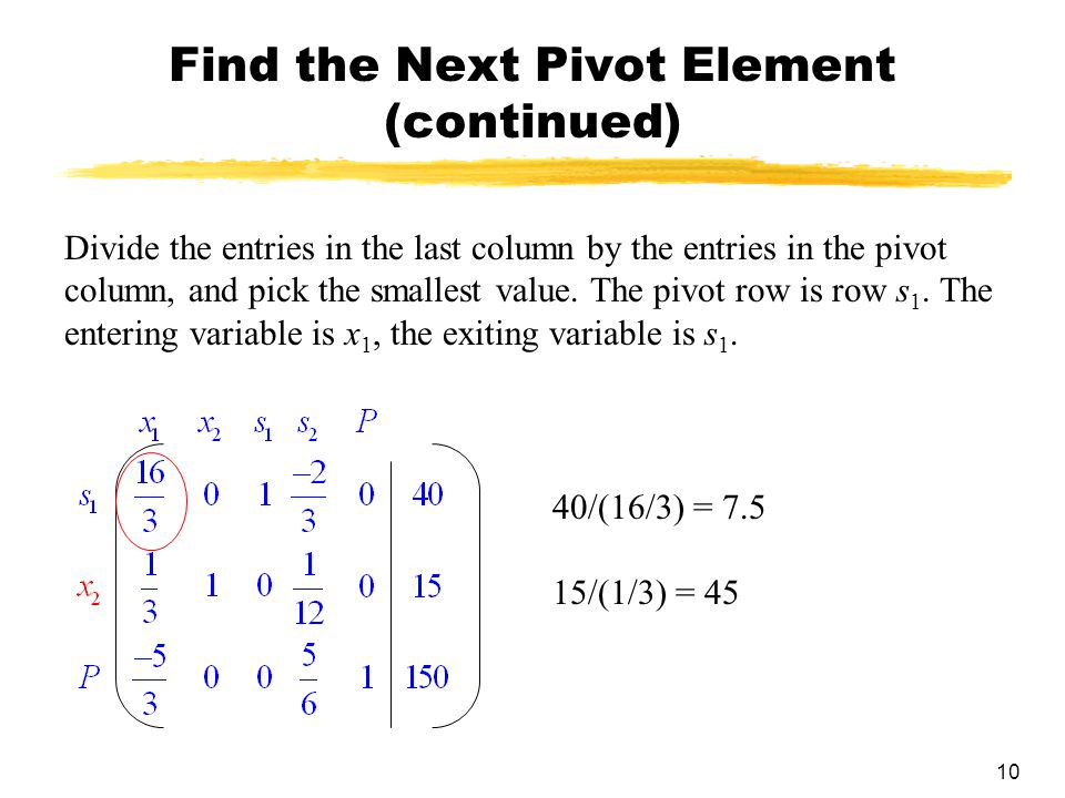 Find the Next Pivot Element (continued)
