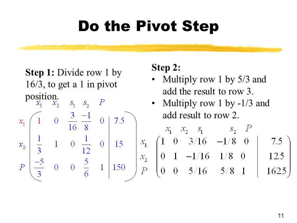 Do the Pivot Step Step 2: Multiply row 1 by 5/3 and add the result to row 3. Multiply row 1 by -1/3 and add result to row 2.