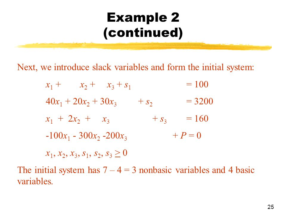 Example 2 (continued) Next, we introduce slack variables and form the initial system: x1 + x2 + x3 + s1 = 100.
