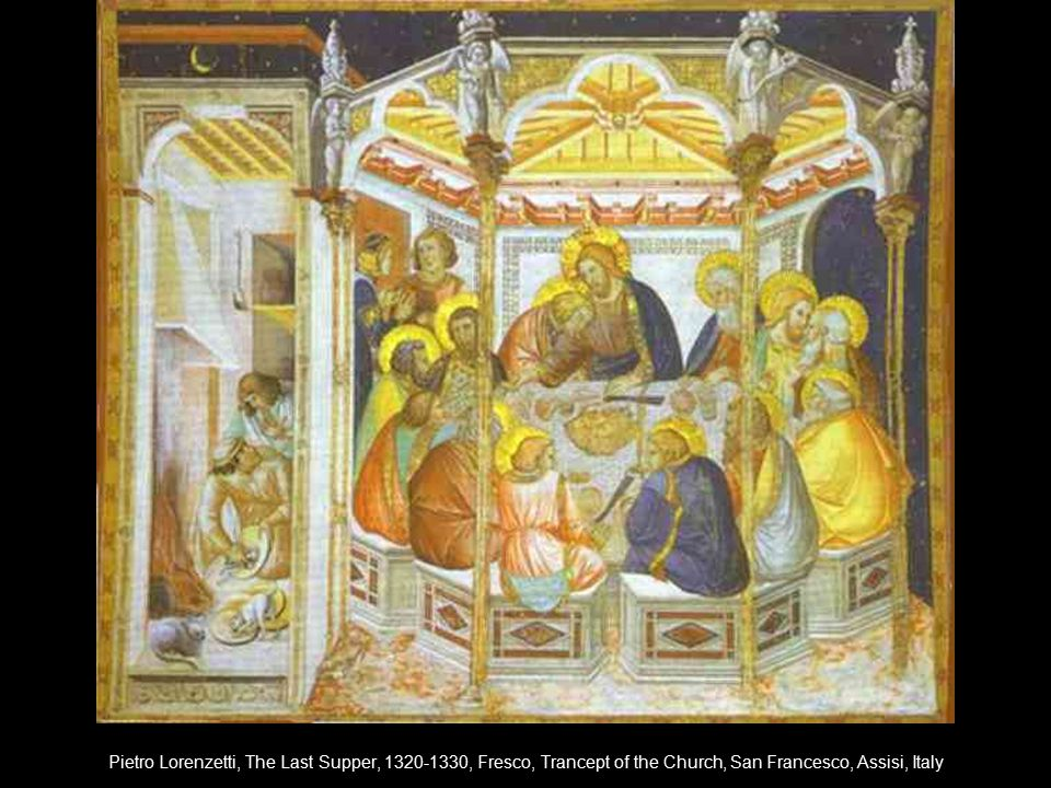 Pietro Lorenzetti, The Last Supper, 1320-1330, Fresco, Trancept of the Church, San Francesco, Assisi, Italy