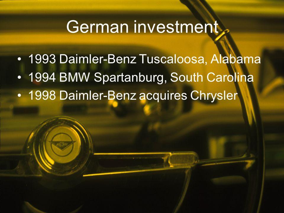 German investment 1993 Daimler-Benz Tuscaloosa, Alabama