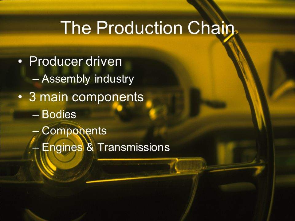 The Production Chain Producer driven 3 main components