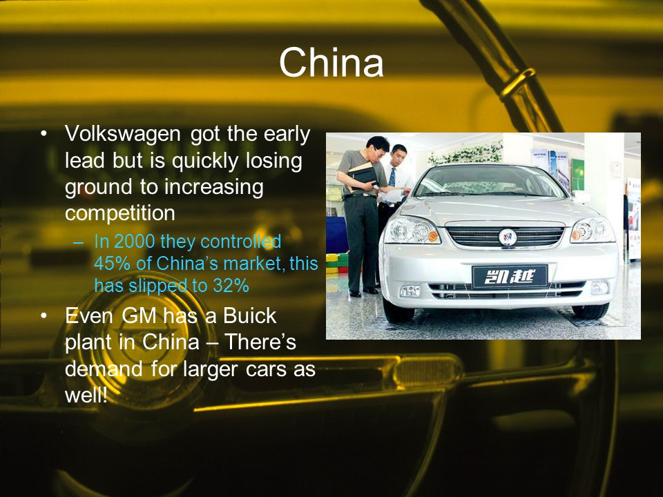 China Volkswagen got the early lead but is quickly losing ground to increasing competition.