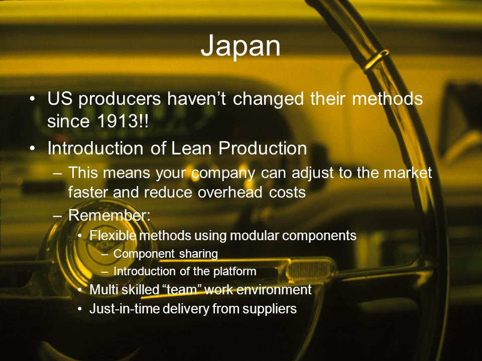 Japan US producers haven't changed their methods since 1913!!