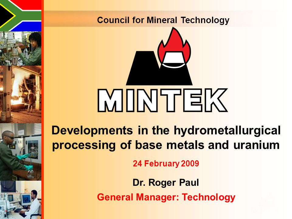 Council for Mineral Technology General Manager: Technology