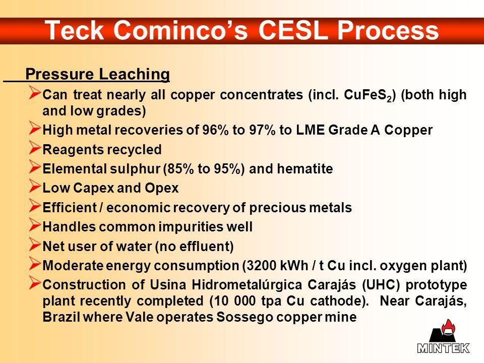 Teck Cominco's CESL Process