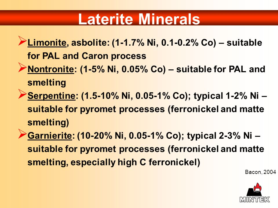 Laterite Minerals Limonite, asbolite: (1-1.7% Ni, 0.1-0.2% Co) – suitable for PAL and Caron process.