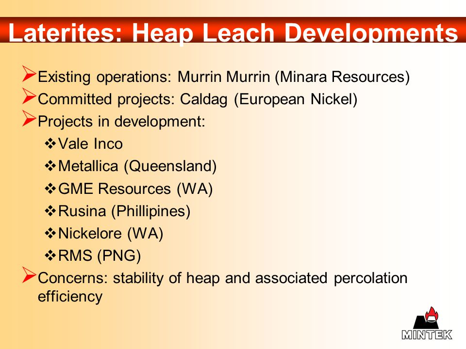 Laterites: Heap Leach Developments