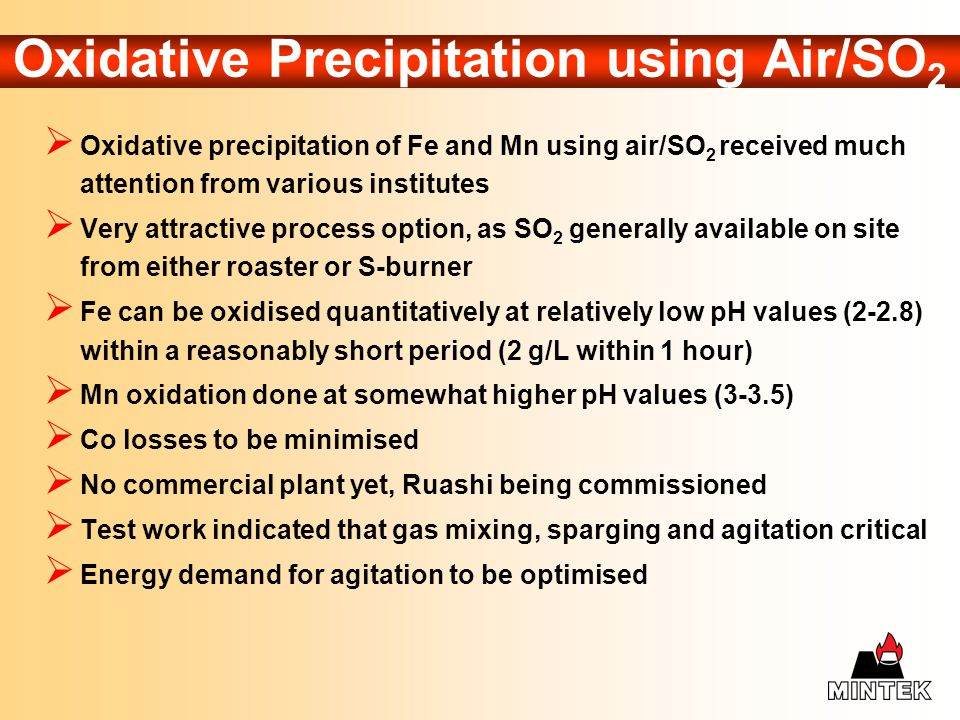 Oxidative Precipitation using Air/SO2