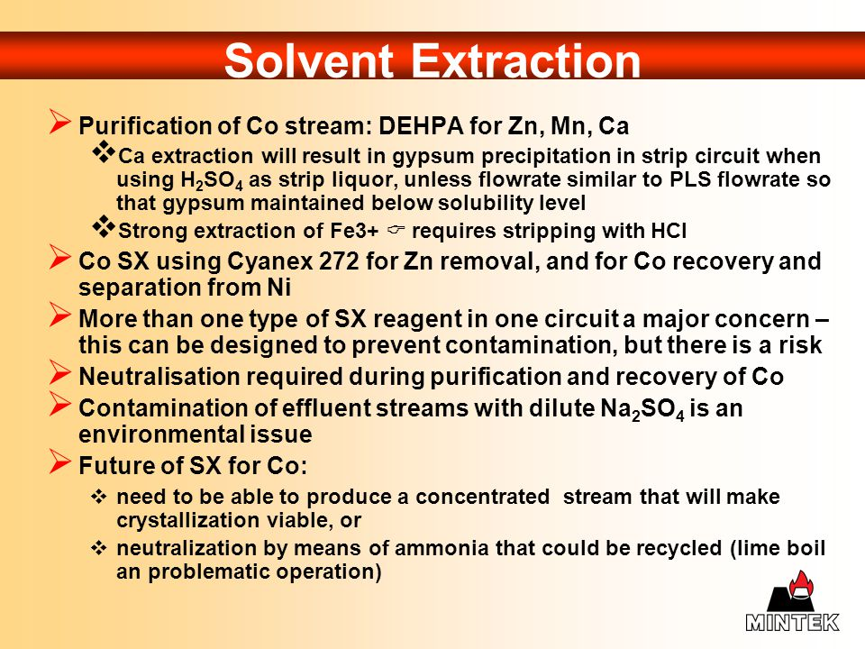 Solvent Extraction Purification of Co stream: DEHPA for Zn, Mn, Ca