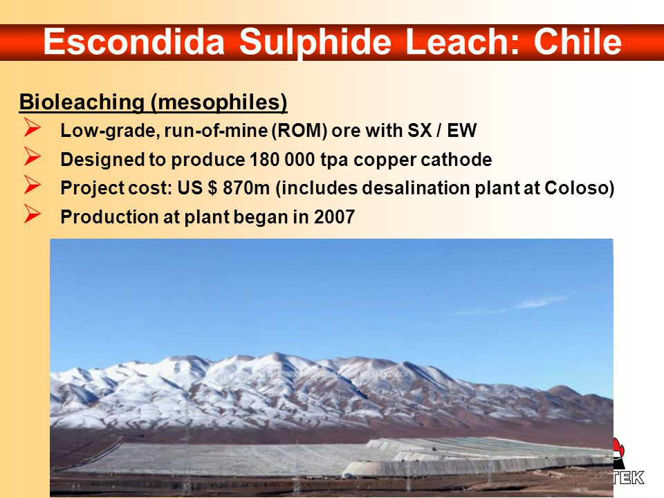 Escondida Sulphide Leach: Chile