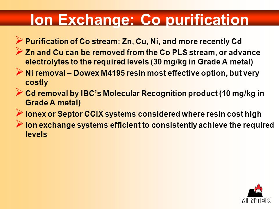 Ion Exchange: Co purification