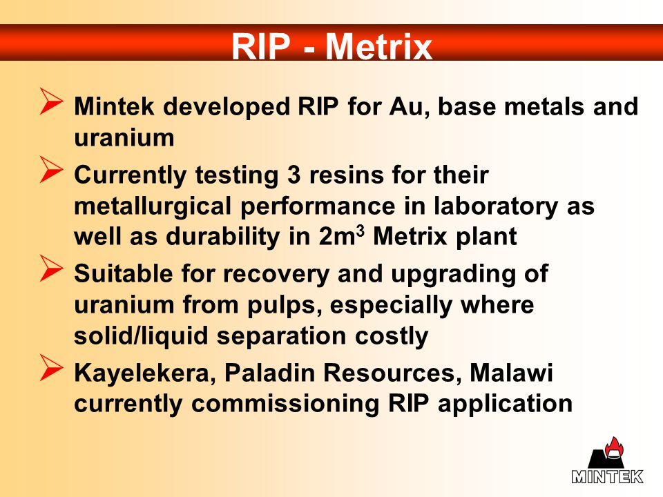 RIP - Metrix Mintek developed RIP for Au, base metals and uranium