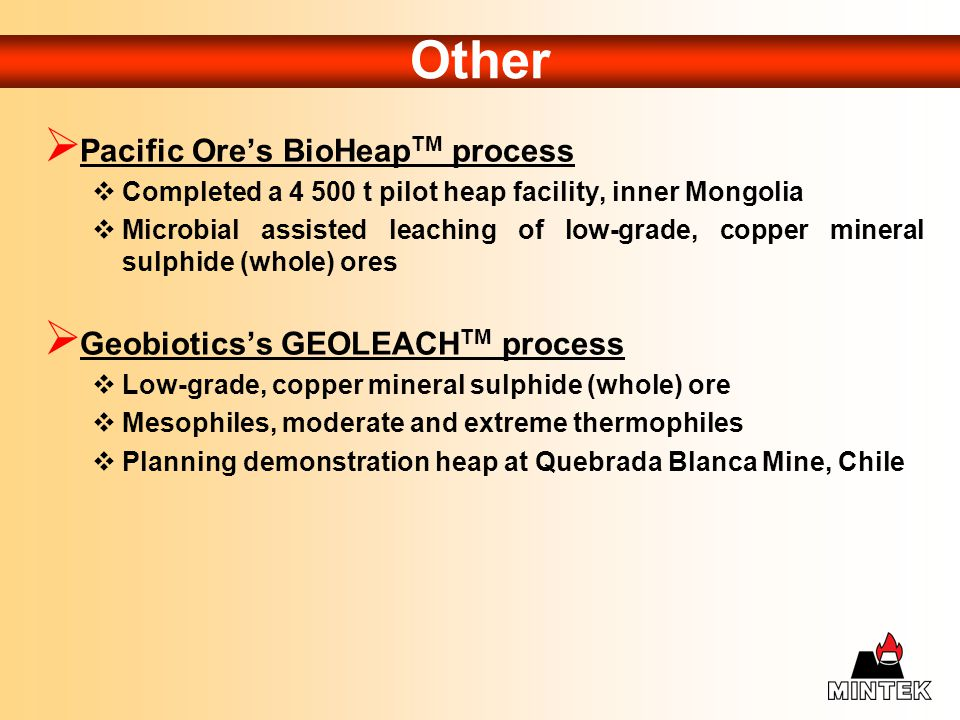 Other Pacific Ore's BioHeapTM process Geobiotics's GEOLEACHTM process