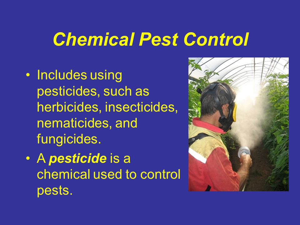 Chemical Pest Control Includes using pesticides, such as herbicides, insecticides, nematicides, and fungicides.