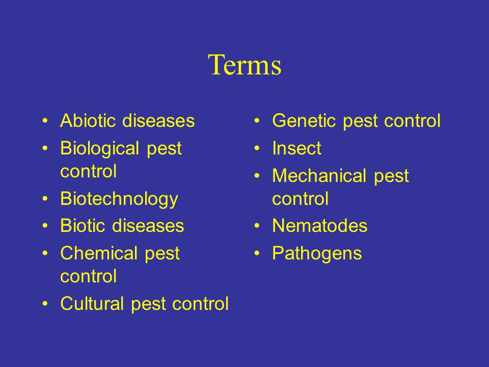 Terms Abiotic diseases Biological pest control Biotechnology