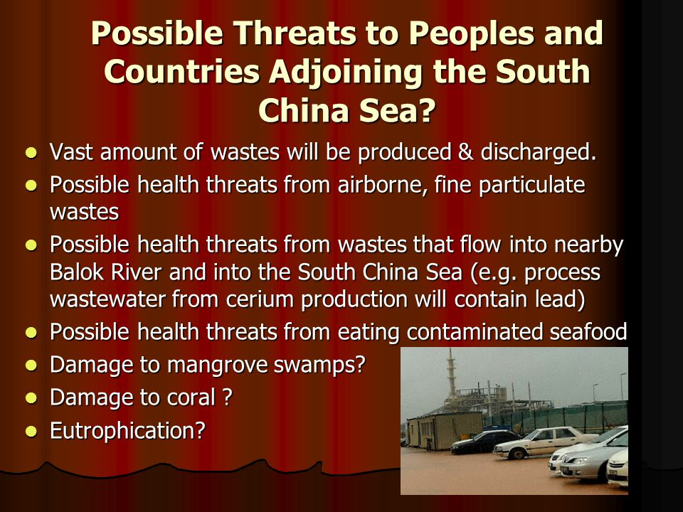 Possible Threats to Peoples and Countries Adjoining the South China Sea