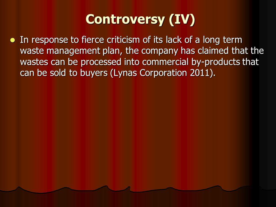 Controversy (IV)