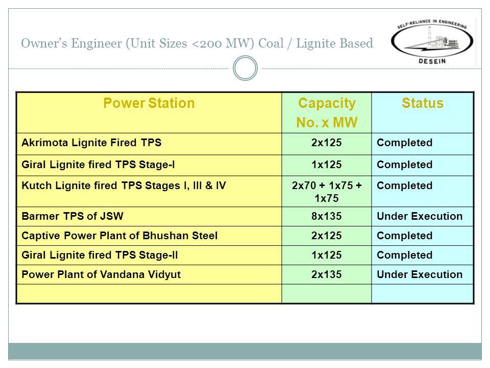 Owner's Engineer (Unit Sizes <200 MW) Coal / Lignite Based