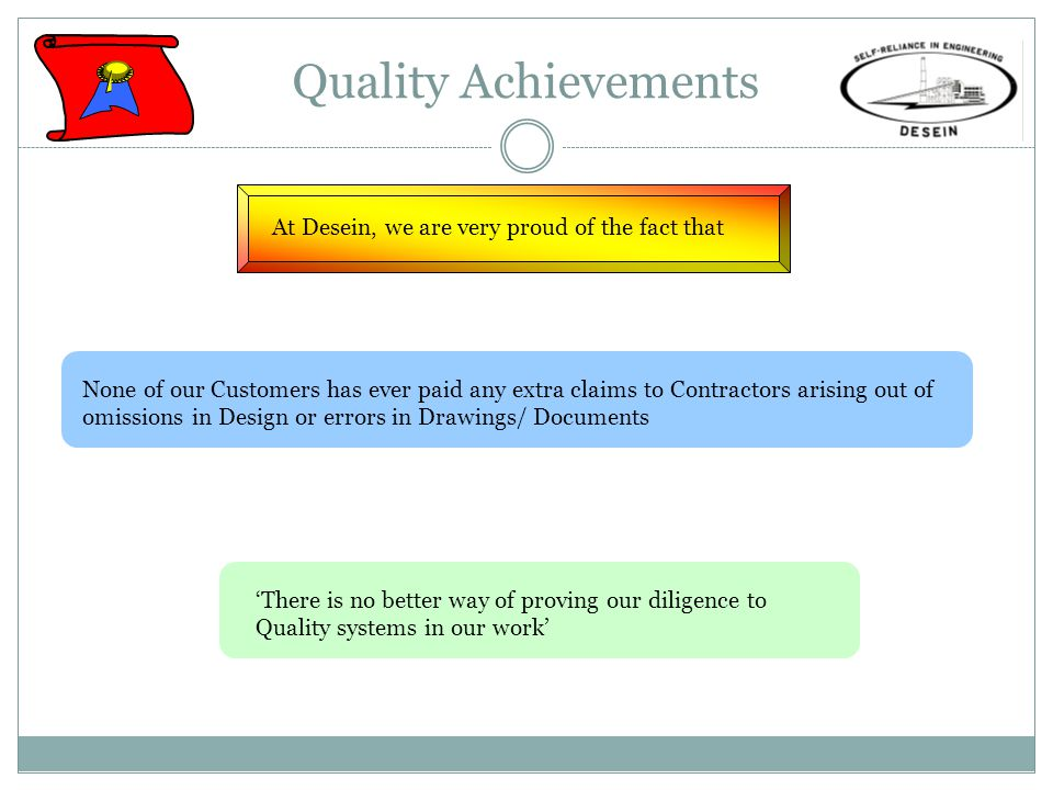 Quality Achievements At Desein, we are very proud of the fact that