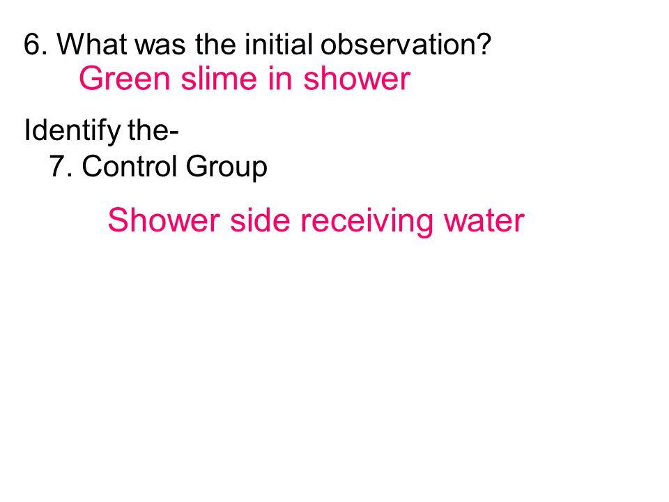 Shower side receiving water