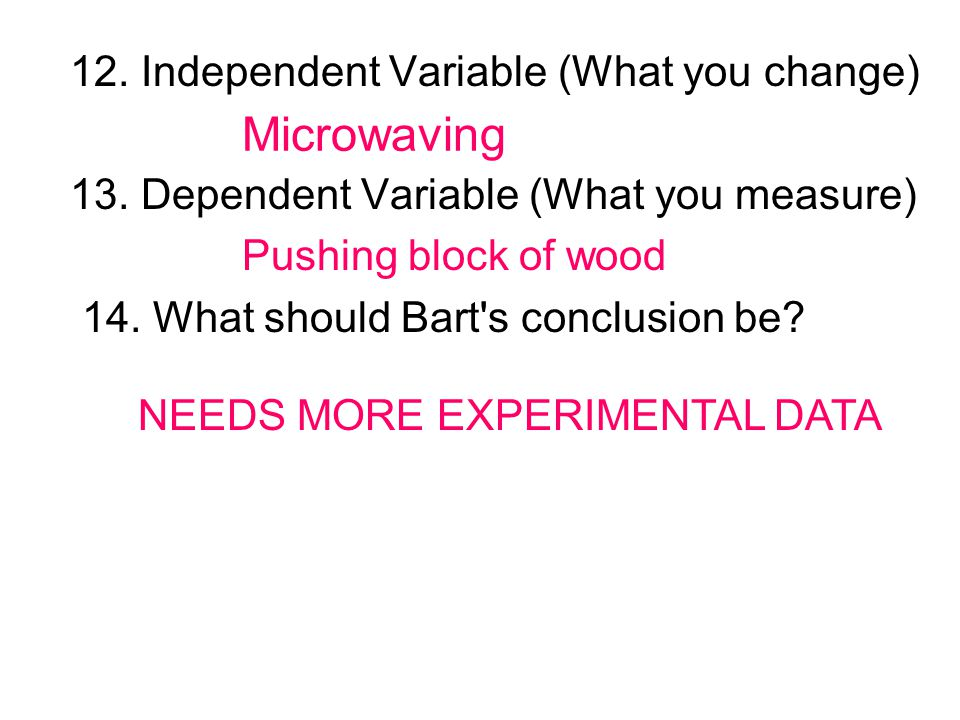 Microwaving 12. Independent Variable (What you change)