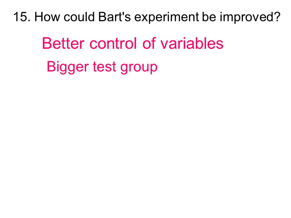 Better control of variables