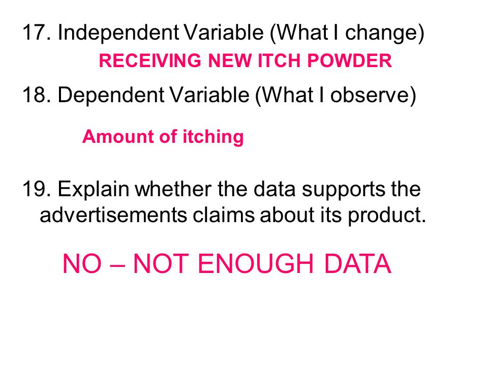 NO – NOT ENOUGH DATA 17. Independent Variable (What I change)