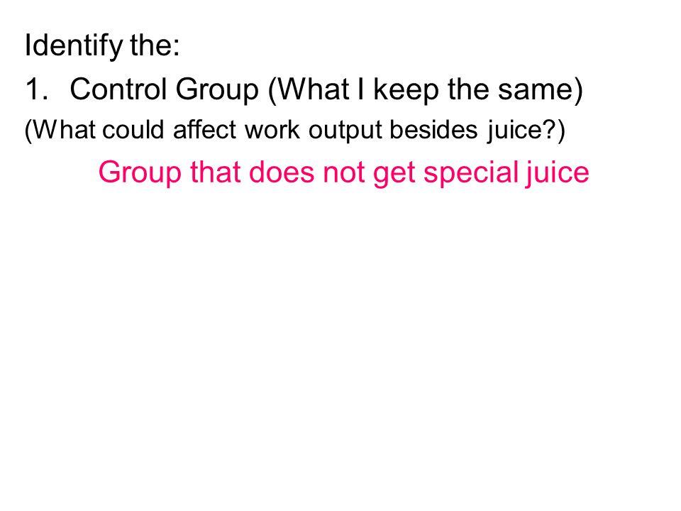 Control Group (What I keep the same)