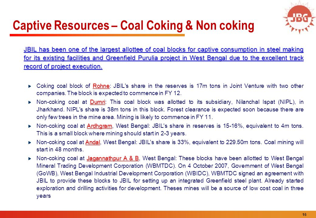 Captive Resources – Coal Coking & Non coking