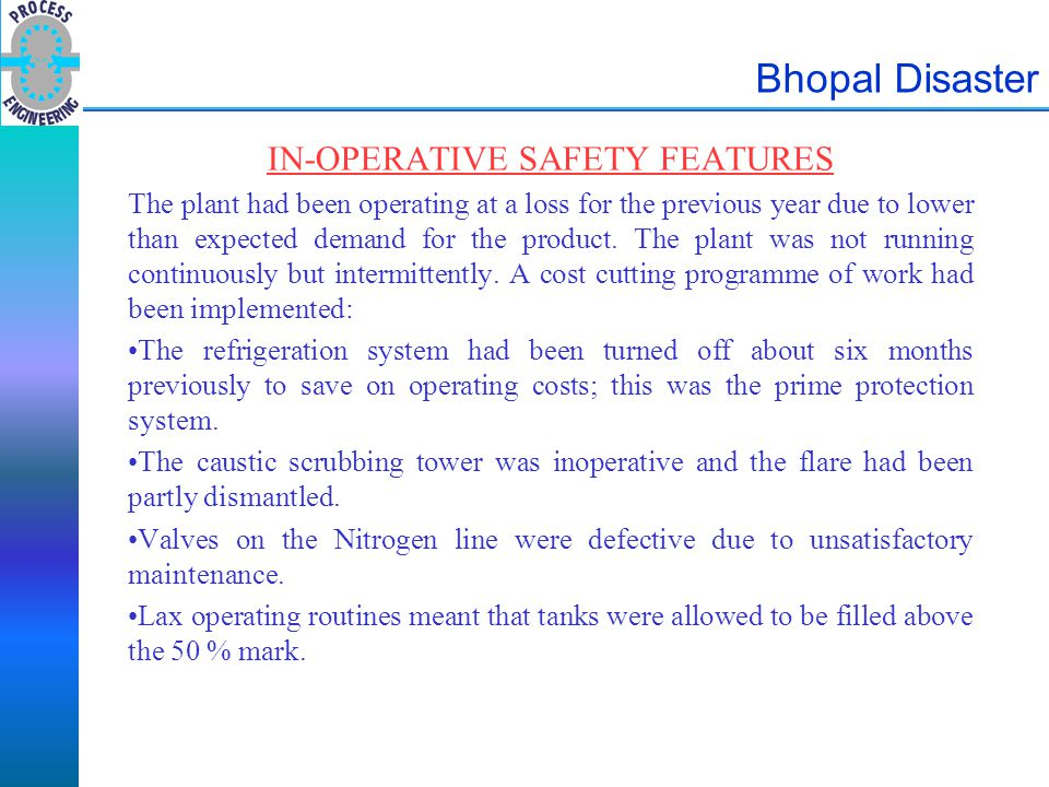 IN-OPERATIVE SAFETY FEATURES