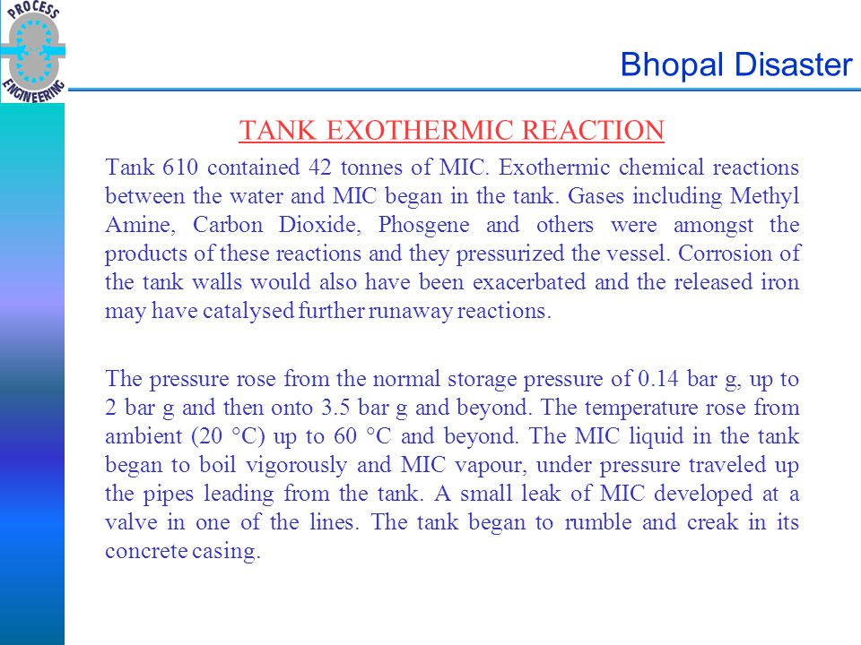 TANK EXOTHERMIC REACTION