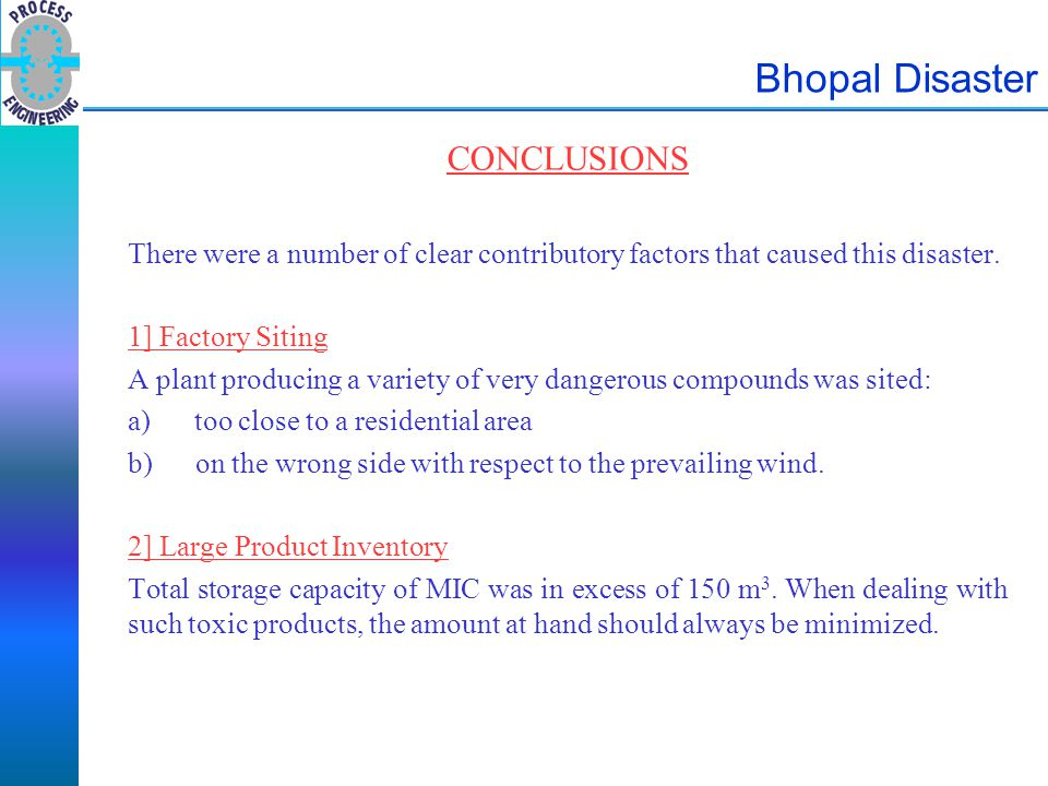 Bhopal Disaster CONCLUSIONS