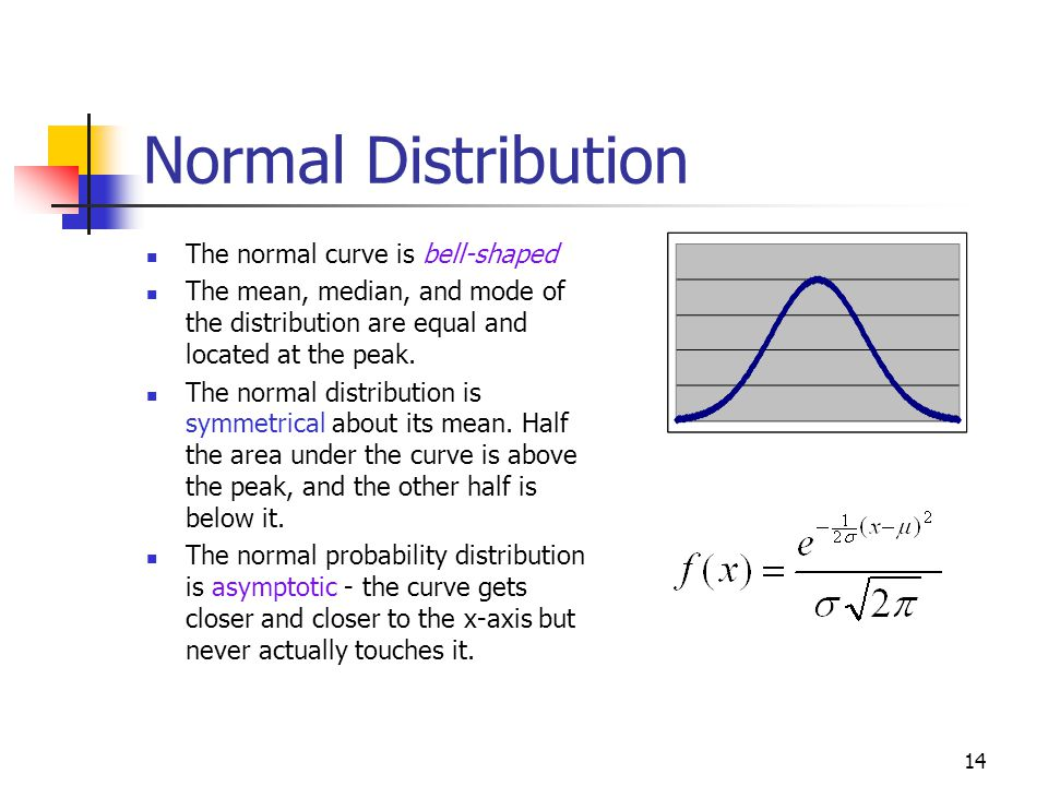 Normal Distribution The normal curve is bell-shaped