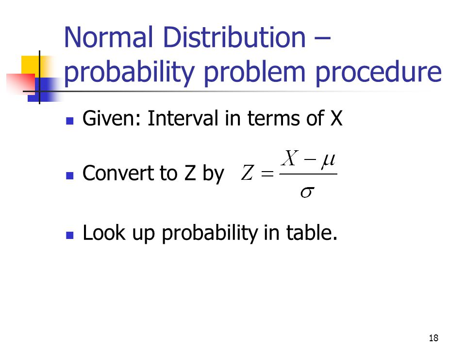 Normal Distribution – probability problem procedure