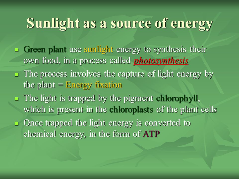 Sunlight as a source of energy