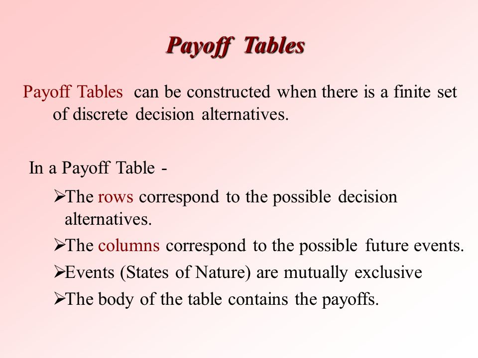 Payoff Tables Payoff Tables can be constructed when there is a finite set of discrete decision alternatives.