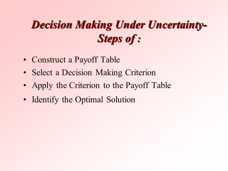 Decision Making Under Uncertainty- Steps of :