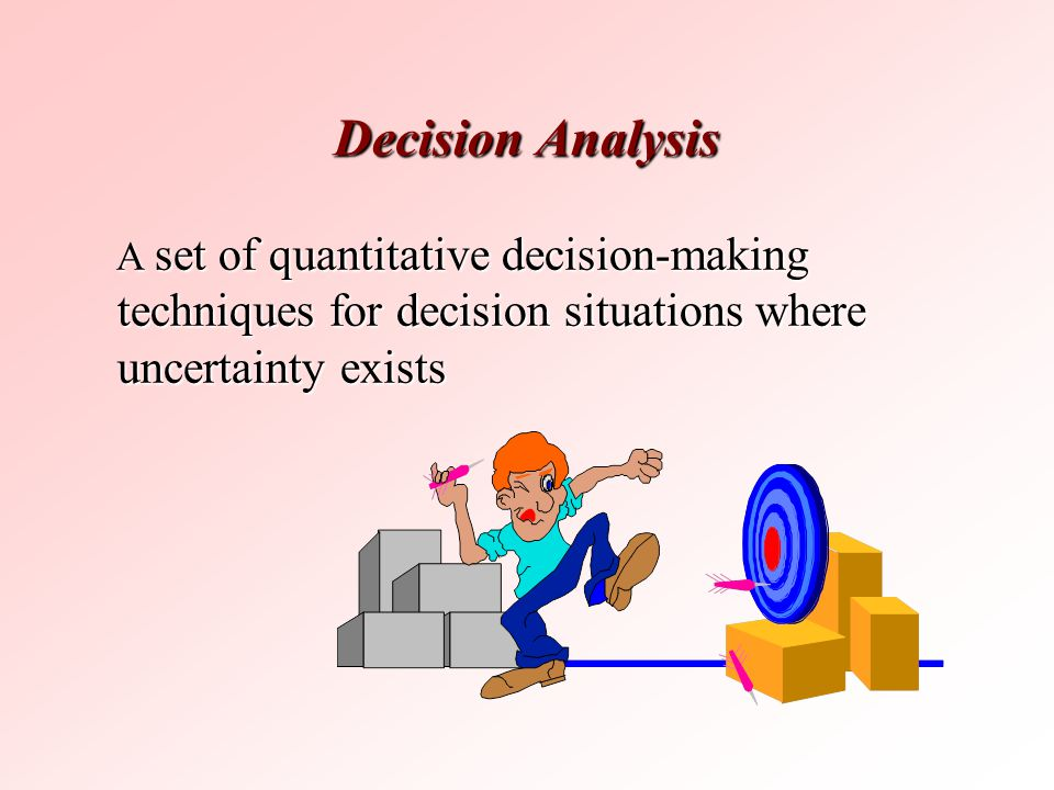 Decision Analysis A set of quantitative decision-making techniques for decision situations where uncertainty exists.