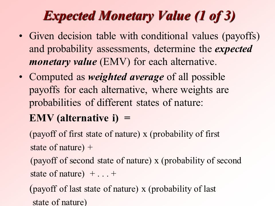 Expected Monetary Value (1 of 3)