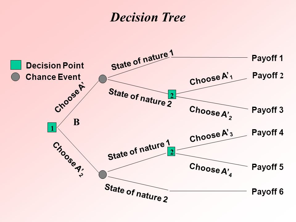 Decision Tree B State of nature 1 Payoff 1 Decision Point Choose A'1