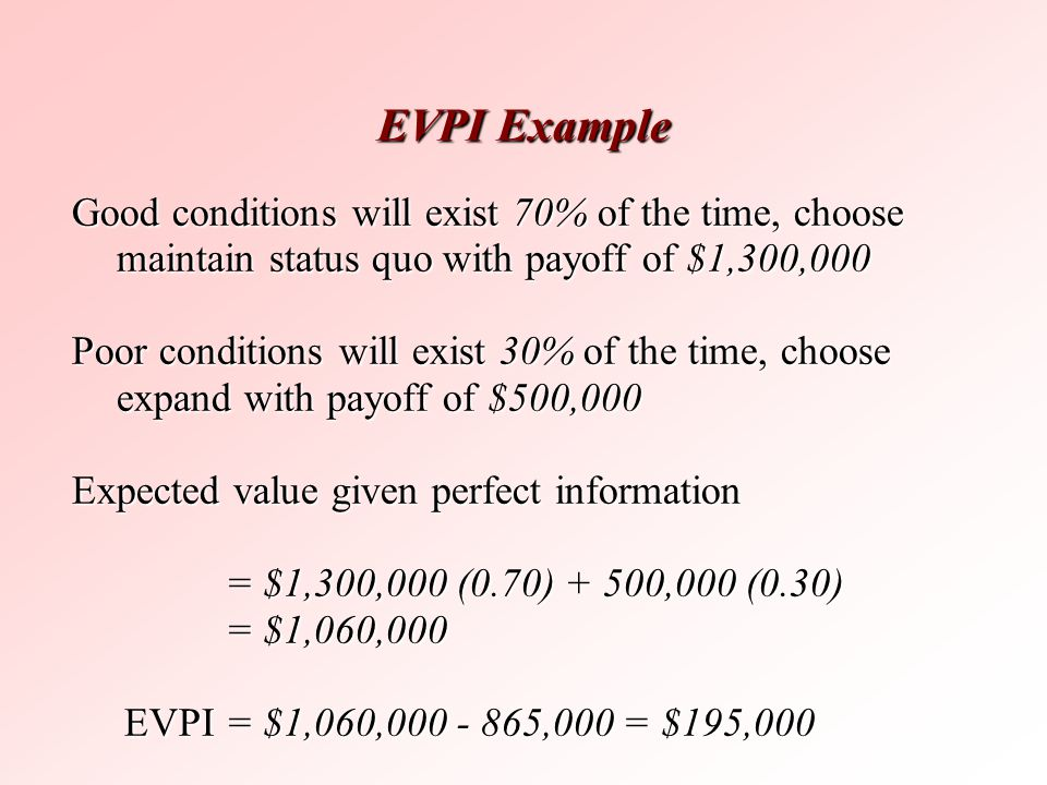 EVPI Example Good conditions will exist 70% of the time, choose maintain status quo with payoff of $1,300,000.