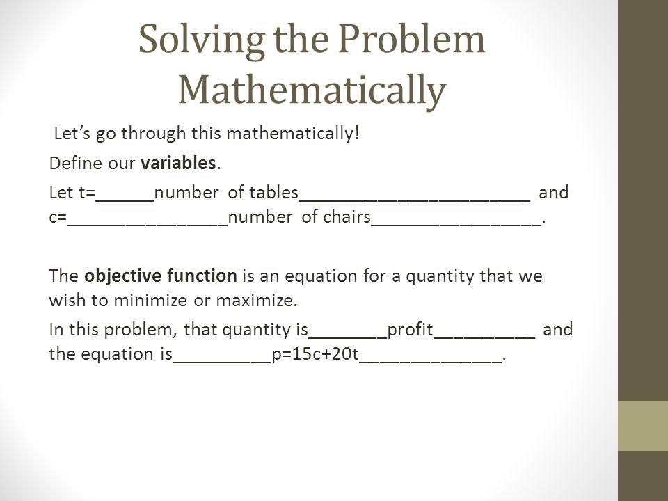 Solving the Problem Mathematically