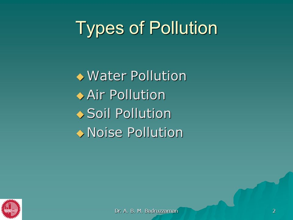 Types of Pollution Water Pollution Air Pollution Soil Pollution
