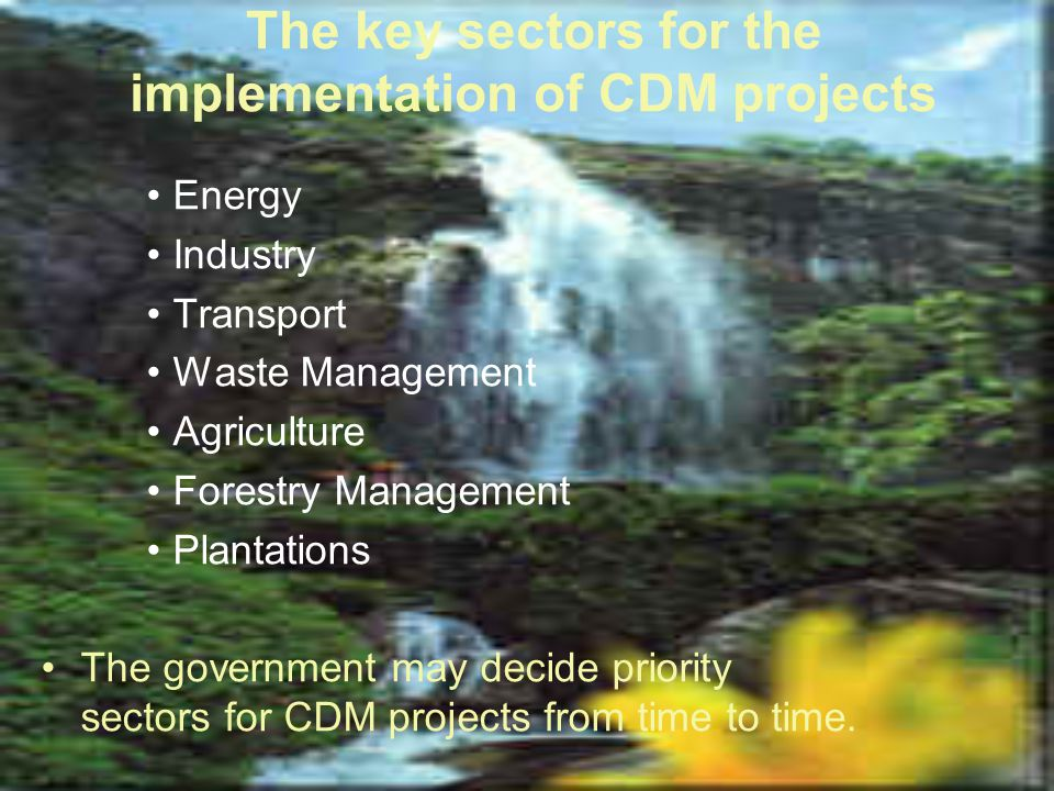 The key sectors for the implementation of CDM projects