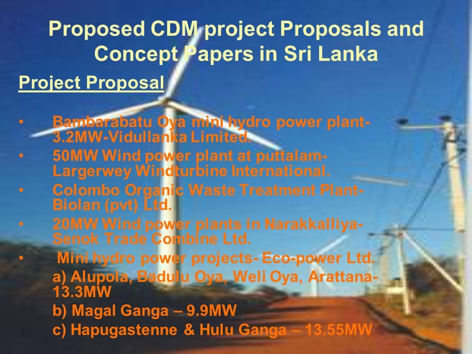 Proposed CDM project Proposals and Concept Papers in Sri Lanka