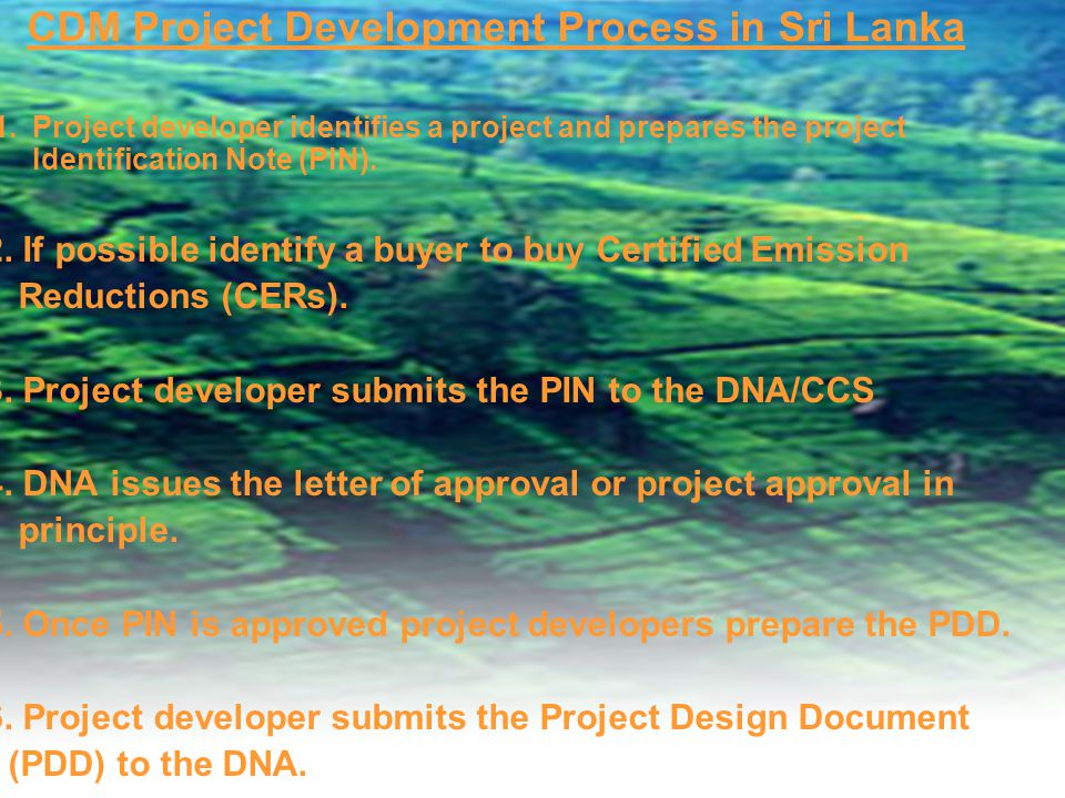CDM Project Development Process in Sri Lanka